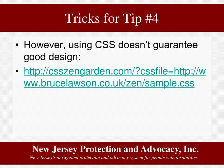 Tricks for Tip #4