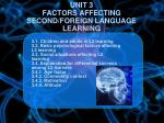unit 3 factors affecting second foreign language learning