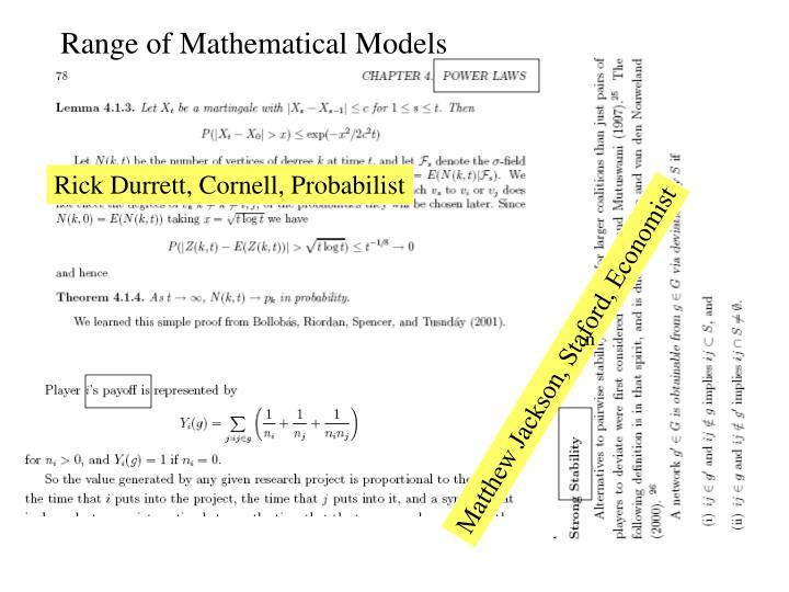 Range of Mathematical Models