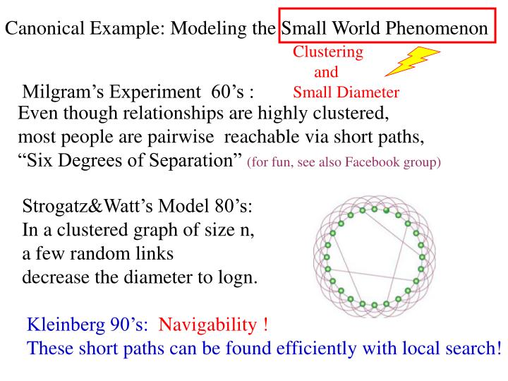 Canonical Example: Modeling the Small World Phenomenon