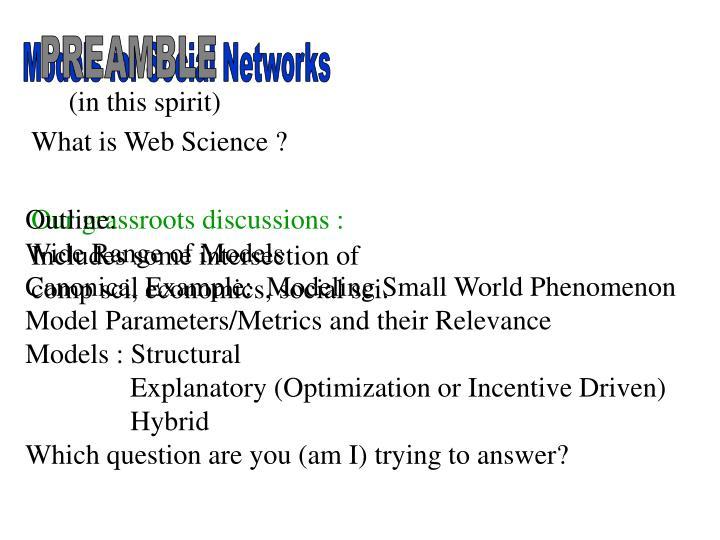 Models for Social Networks