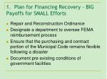 1 plan for financing recovery big payoffs for small efforts
