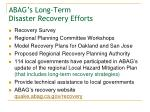 abag s long term disaster recovery efforts