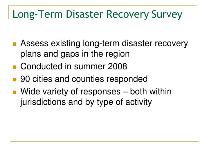 Long-Term Disaster Recovery