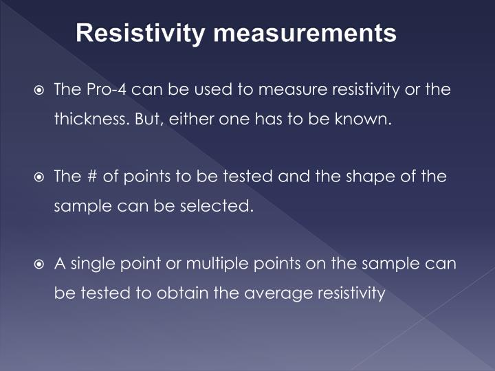 Resistivity measurements