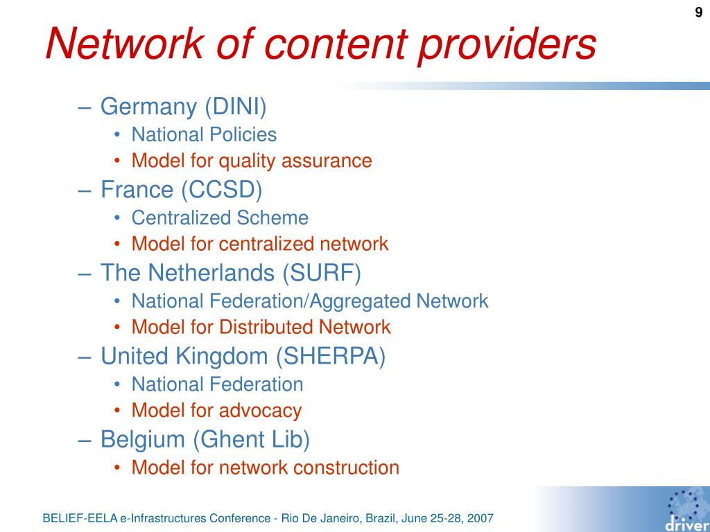 Network of content providers