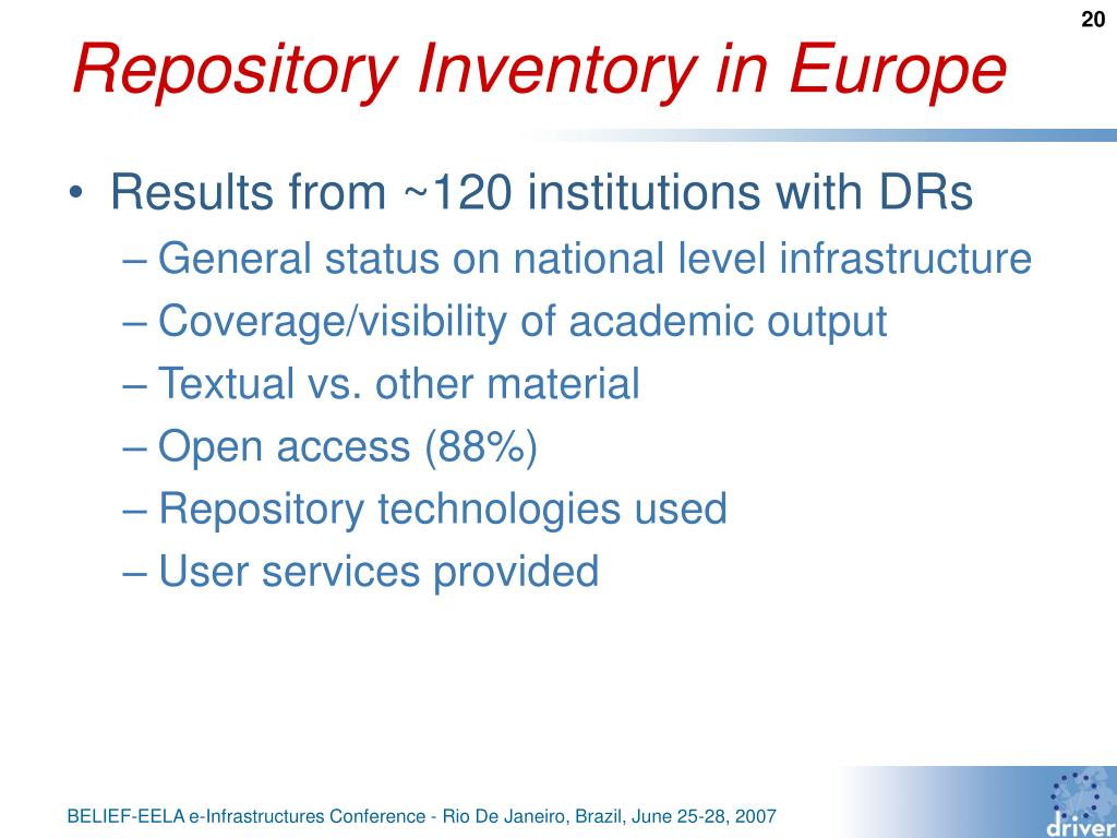 Repository Inventory in Europe