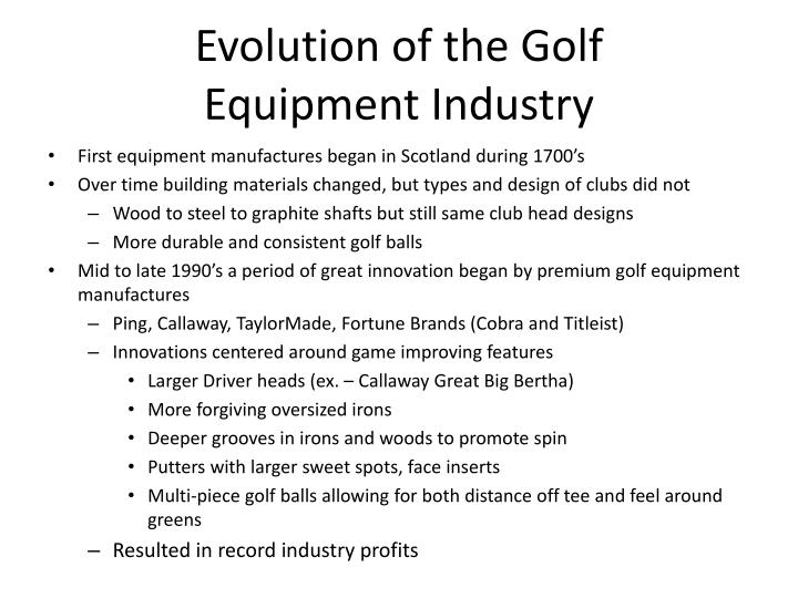 Evolution of the Golf