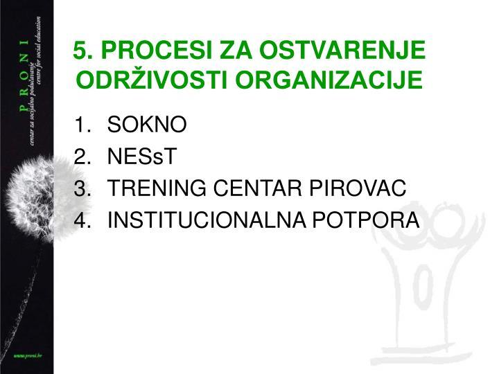 5. PROCESI ZA OSTVARENJE ODRIVOSTI ORGANIZACIJE