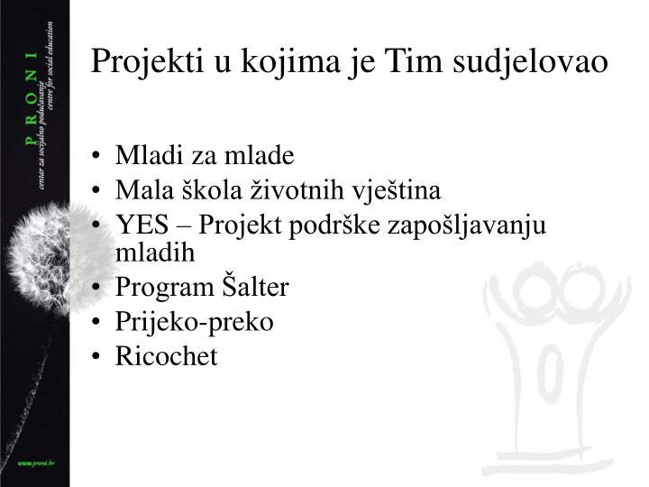 Projekti u kojima je Tim sudjelovao