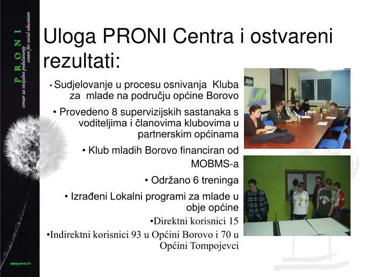 Uloga PRONI Centra i ostvareni rezultati: