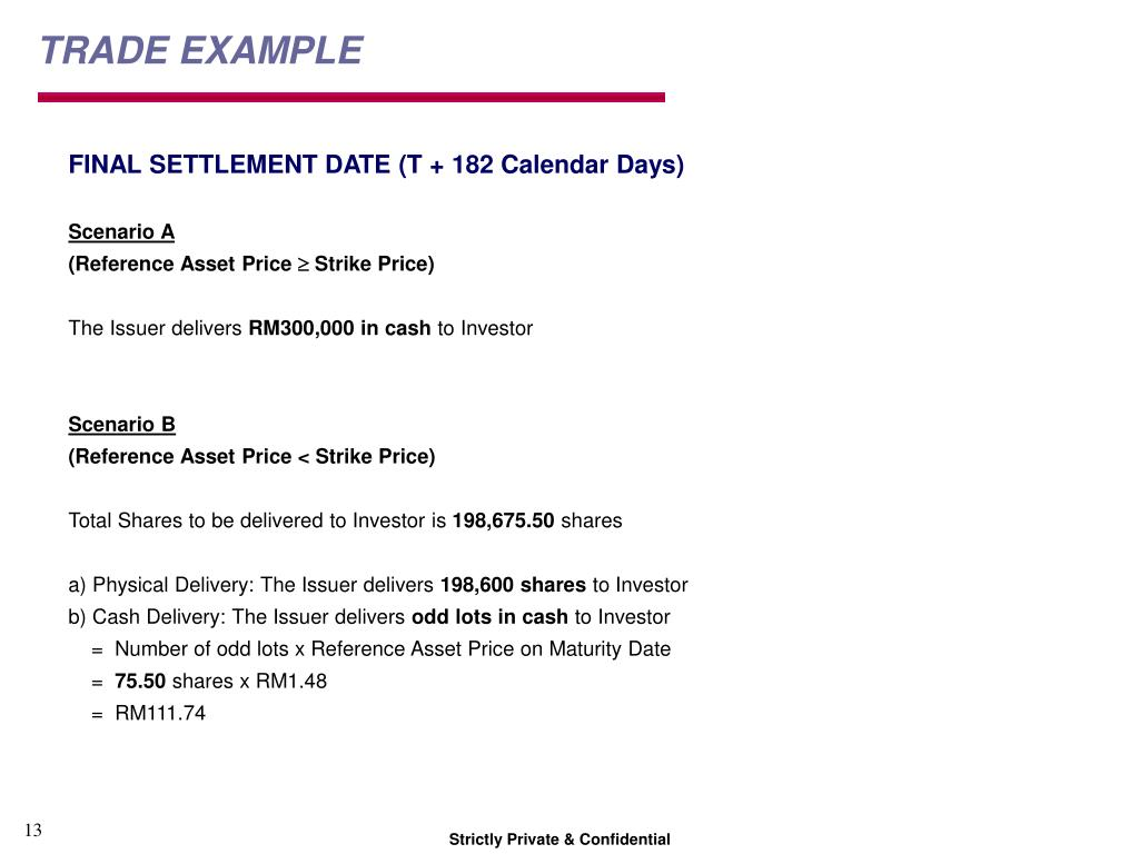 FINAL SETTLEMENT DATE (T + 182 Calendar Days)