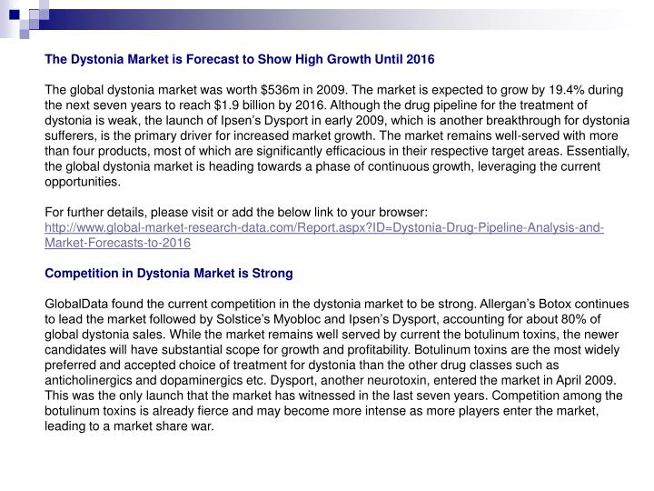 The Dystonia Market is Forecast to Show High Growth Until 2016