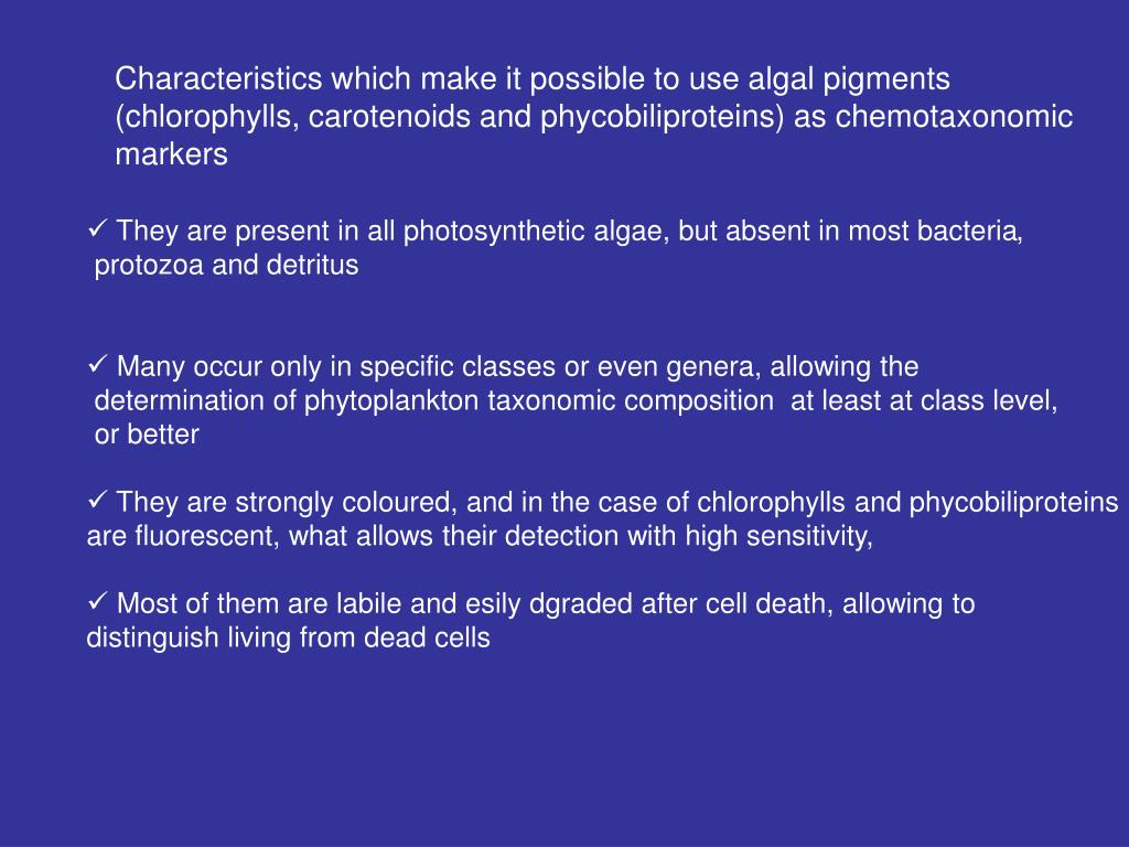 Characteristics which make it possible to use algal pigments