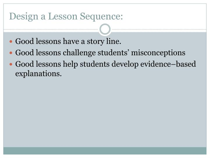 Design a lesson sequence