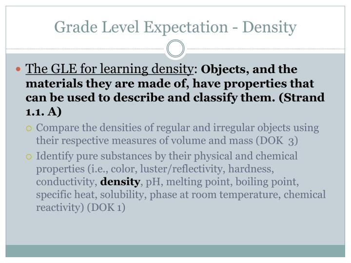 Grade Level Expectation - Density