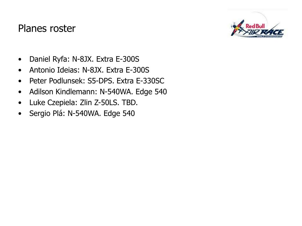 Planes roster