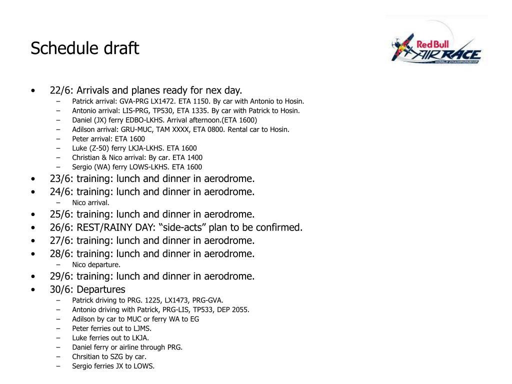 Schedule draft