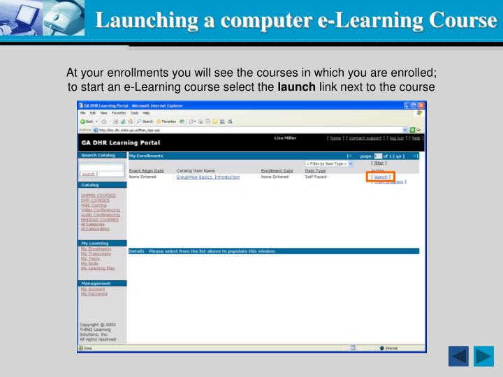 Launching a computer e-Learning Course