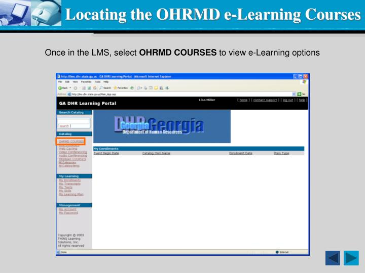 Locating the OHRMD e-Learning Courses