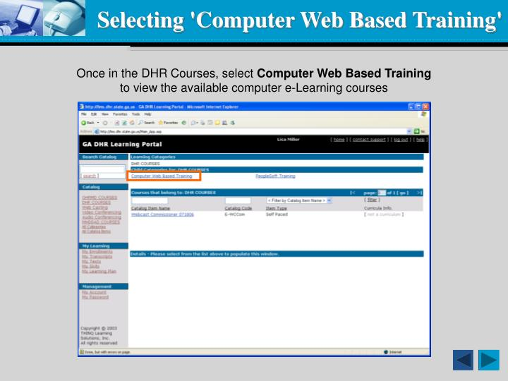 Selecting 'Computer Web Based Training'