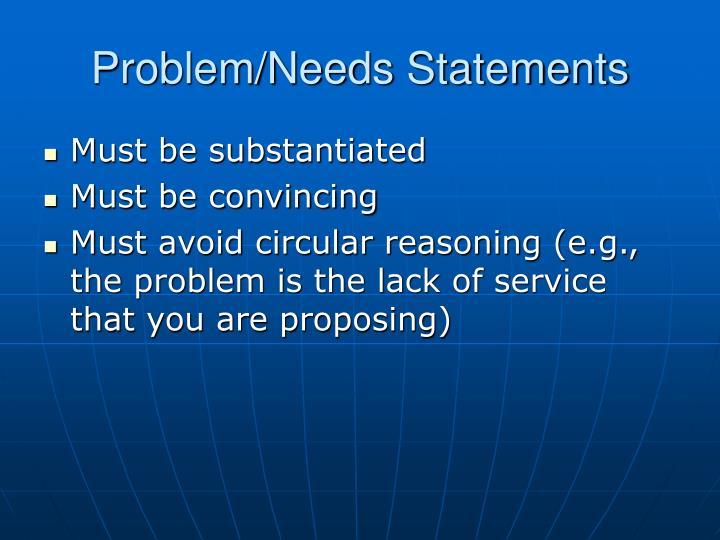 Problem/Needs Statements