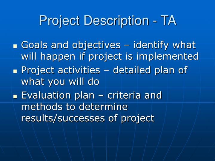 Project Description - TA