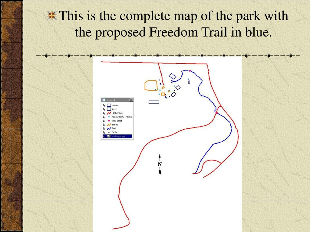 This is the complete map of the park with the proposed Freedom Trail in blue.