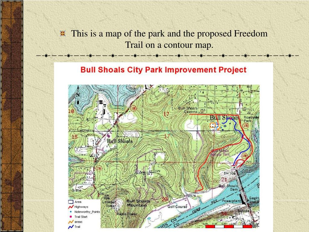 This is a map of the park and the proposed Freedom Trail on a contour map.