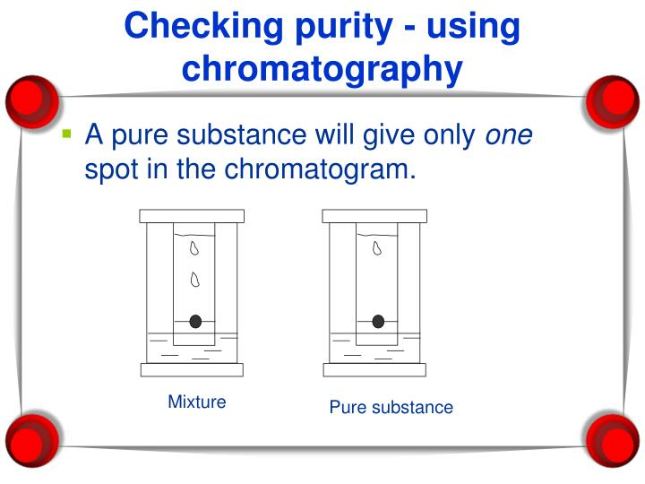 Checking purity - using chromatography