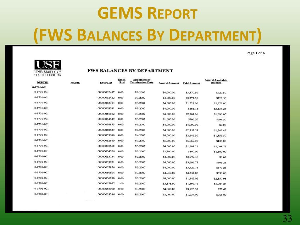 GEMS Report