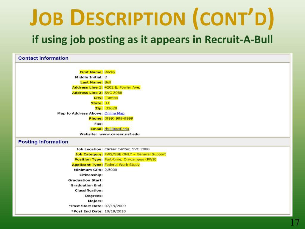 Job Description (cont'd)