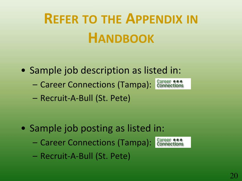 Refer to the Appendix in Handbook