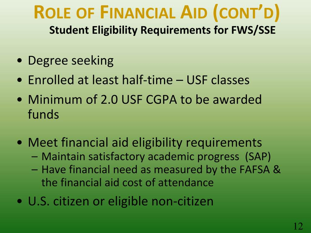 Role of Financial Aid (cont'd)