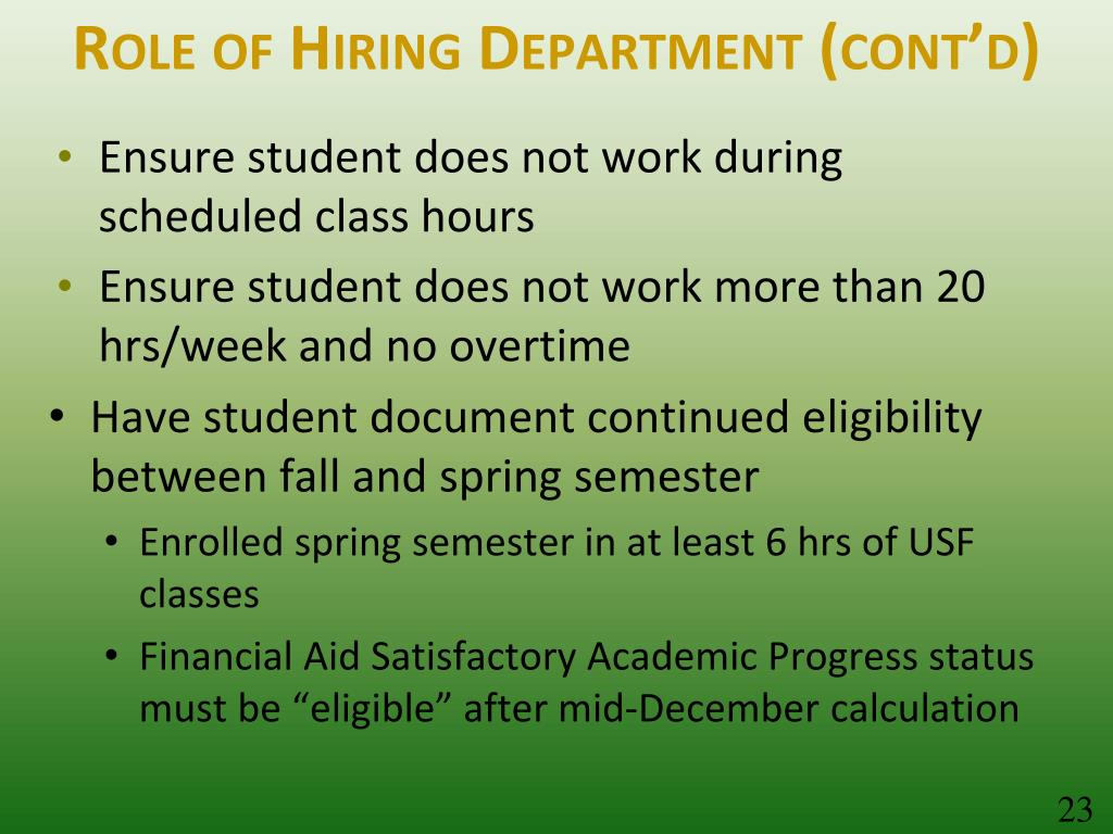 Role of Hiring Department (cont'd)