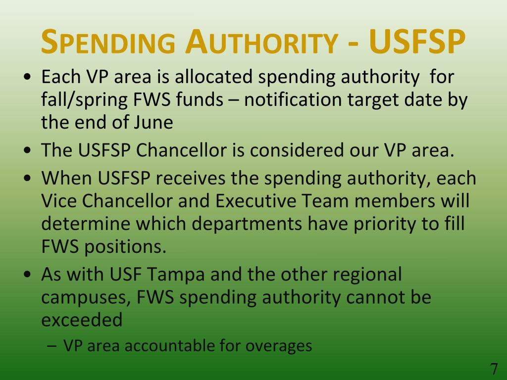 Spending Authority - USFSP