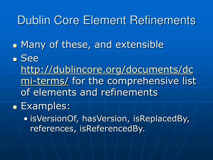 Dublin Core Element Refinements