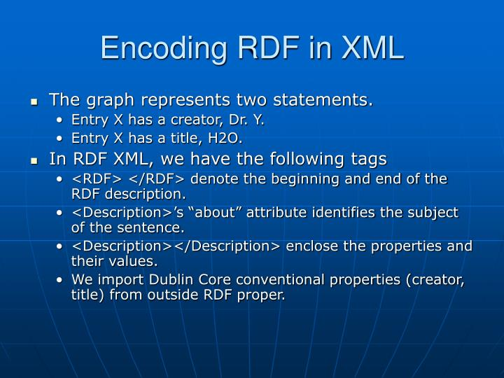 Encoding RDF in XML
