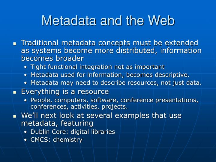 Metadata and the Web