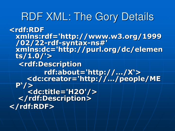 RDF XML: The Gory Details