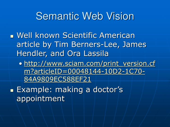 Semantic Web Vision