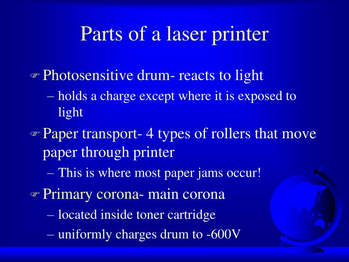Parts of a laser printer