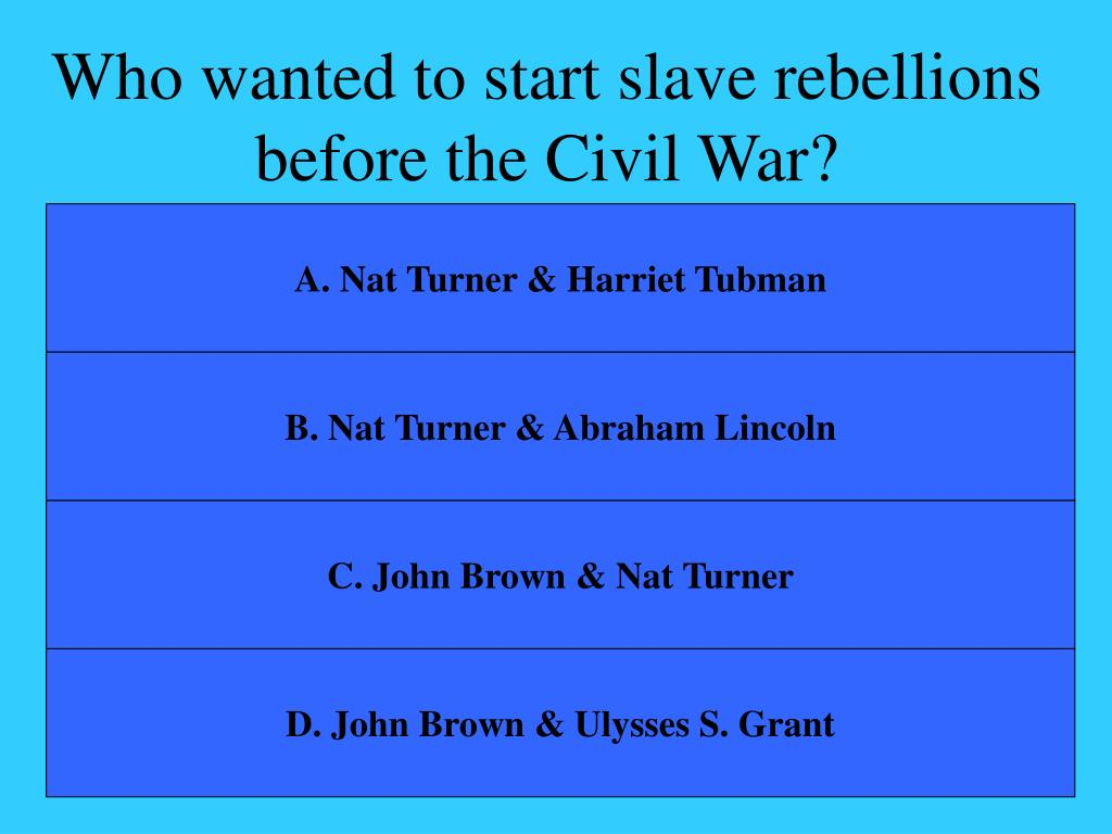 Who wanted to start slave rebellions before the Civil War?