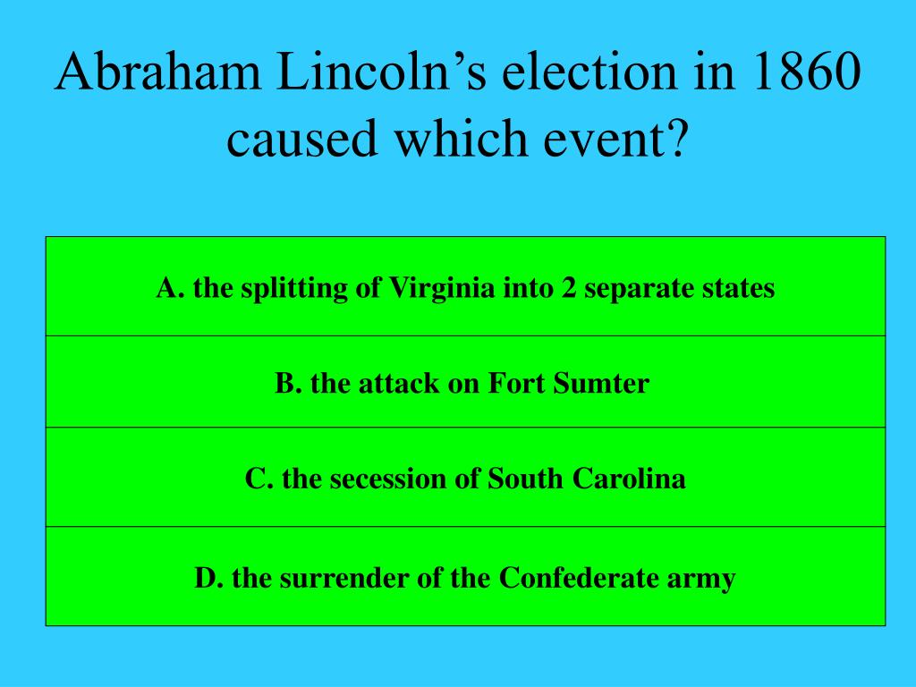 Abraham Lincoln's election in 1860 caused which event?