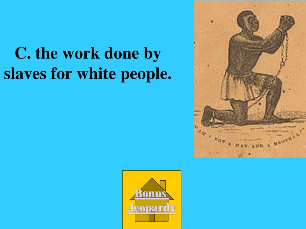 C. the work done by slaves for white people.