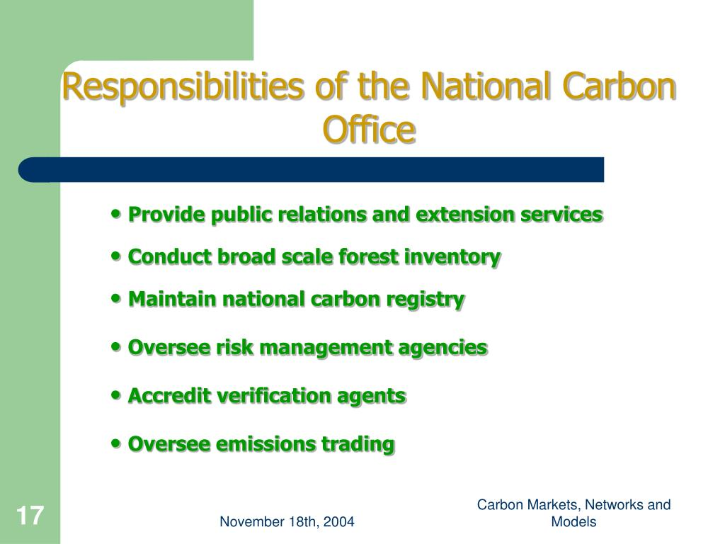 Responsibilities of the National Carbon Office