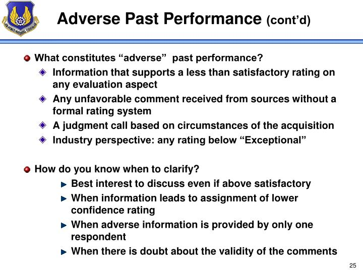 Adverse Past Performance