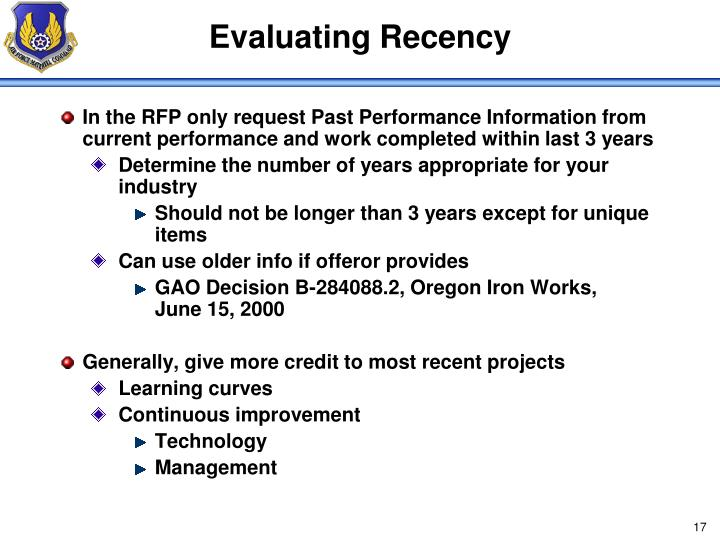 Evaluating Recency