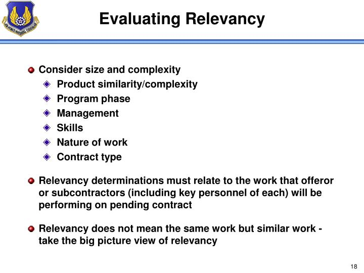 Evaluating Relevancy