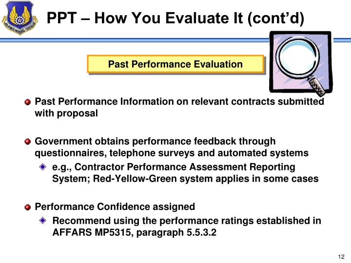 PPT – How You Evaluate It (cont'd)
